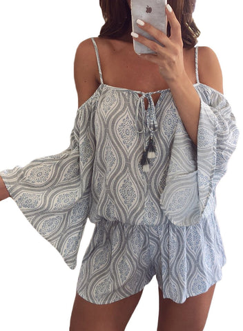 Image of Print Cold Shoulder Tassels Romper