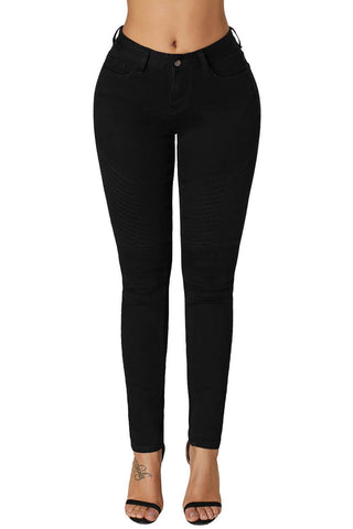 Image of Ribbed Texture Detail Black Denim Pants