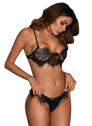 Image of Eyelash Lace 2pcs Lingerie Set (LC43044-2-1)