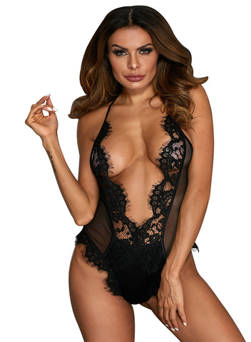 V Shaped Eyelash Lace Satin Teddy(LC32256-2-1)