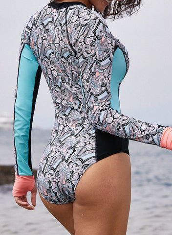 Color Block Floral One-piece Rashguard