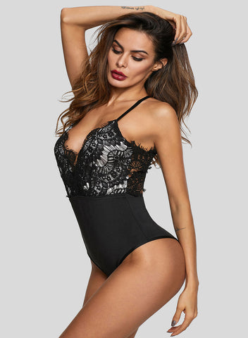 Eyelash Lace Allure High Waisted Bodysuit(LC32258-2-3)