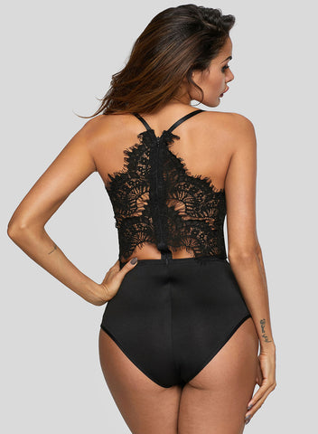 Eyelash Lace Allure High Waisted Bodysuit(LC32258-2-2)