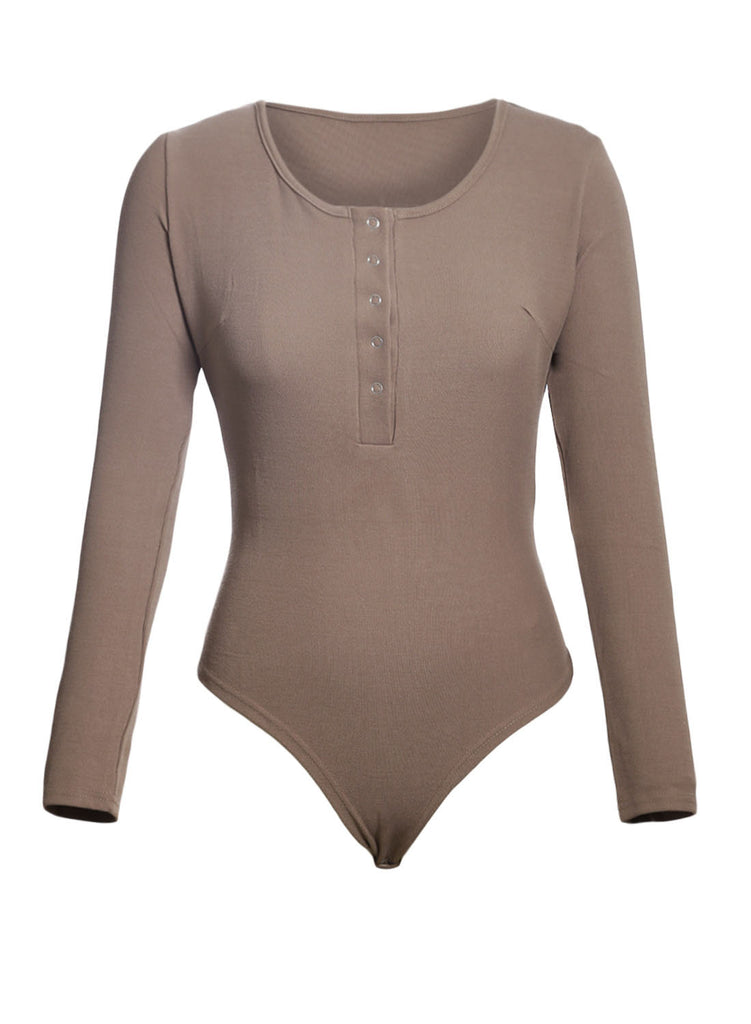 Long Sleeve Button Front Bodysuit(LC32302-2-3)