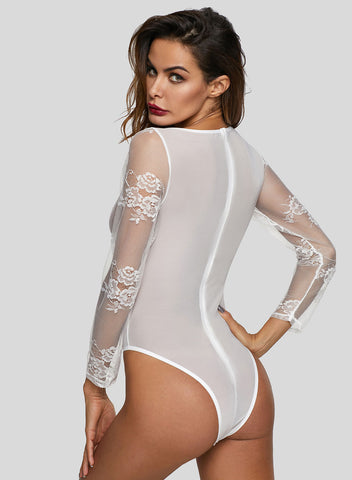 Long Sleeve Underwire Lace Bodysuit(LC32299-1-3)