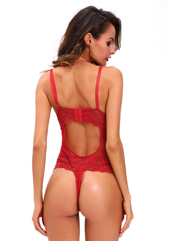 Scalloped Lace Accent Peek-a-boo Teddy Lingerie(LC32028-3-3)