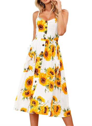 Sunflower Print Straps Button Down Boho Midi Dress