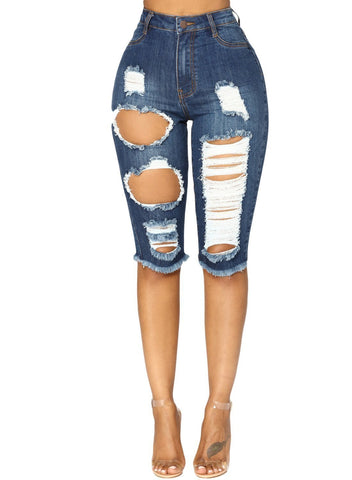 Image of Denim Ripped Destroyed Bermuda Shorts Jeans