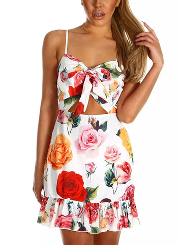 Image of Sunflower Straps Tie Knot Front Floral Skater Ruffle Hem Boho Dress