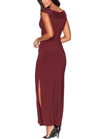 Sequin Wrap V Neckline Long Evening Dress