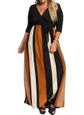 Image of Plus Size Color Block Skirt Maxi Dress