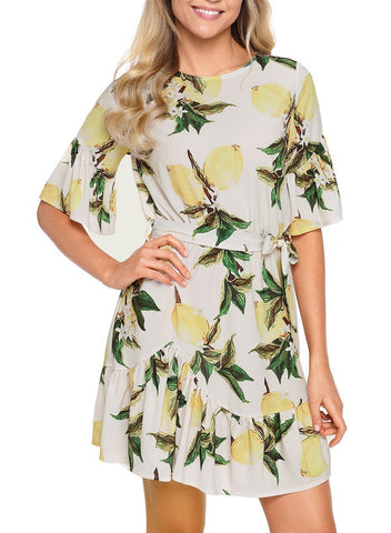 Image of Floral Ruffle Chiffon Dress