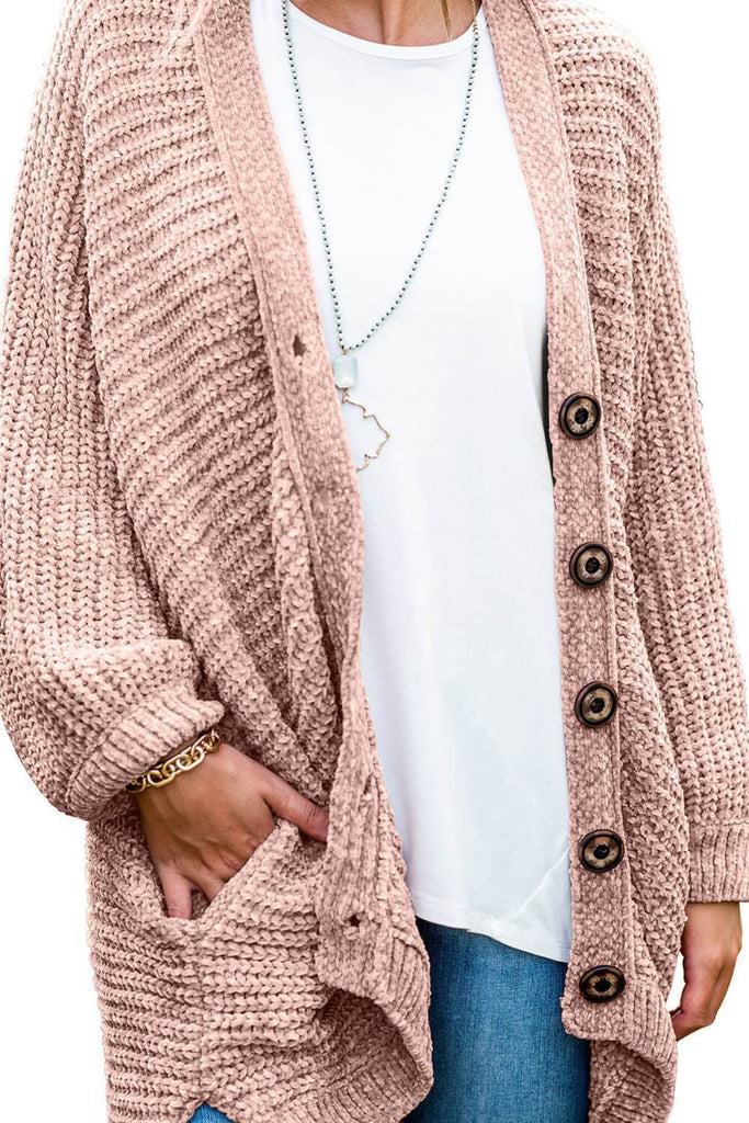 Button Pockets Loose Fit Cardigan