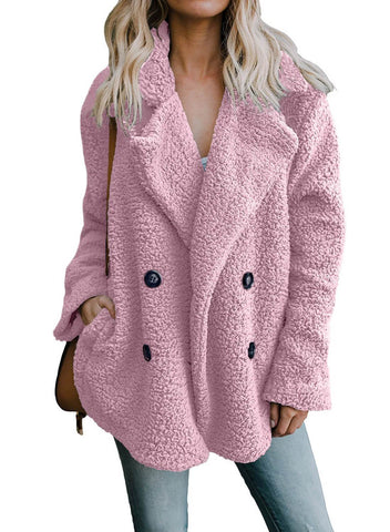 Image of Hot Seller Open Front Pockets Notched Furry Coat