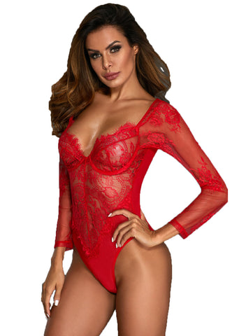 Long Sleeve Underwire Lace Bodysuit(LC32299-3-2)