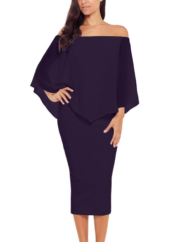 Image of Off Shoulder Sleeve Detail Bodycon Midi Dress