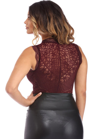 V Neck Hollow-out Lace Bodysuit (LC32247-3-2)