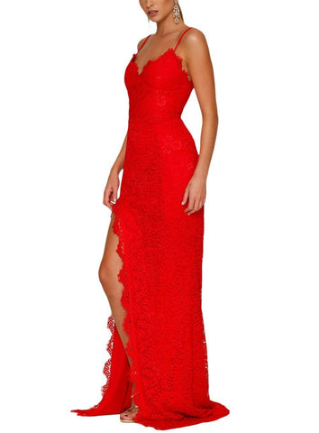 Red Yum Lacy Lace Bridal Wedding Party Gown
