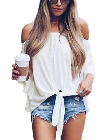 Image of White Off The Shoulder Knot Front Top