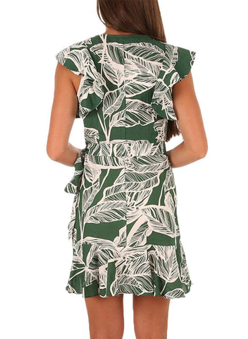 Sunflower Print Ruffle and Wrap Short Summer Dress