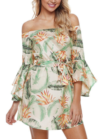 Tropical Leaf Print Navy Off Shoulder Dress