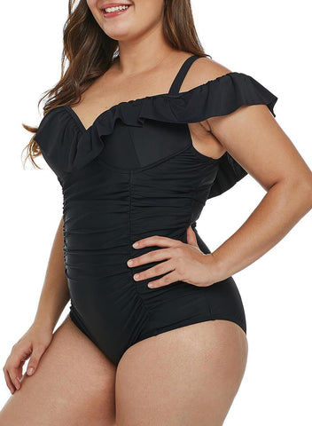 Image of Ruched Ruffle One Piece Swimsuit