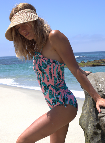 Image of Side Tie Flower Print One Piece Swimsuit