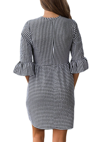 Image of 3/4 Sleeve Fit and Flare Mini Dress (LC220092-2-2)
