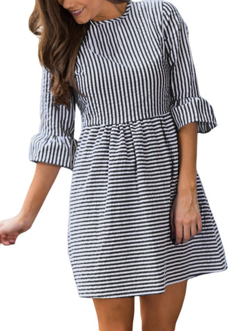 Image of 3/4 Sleeve Fit and Flare Mini Dress (LC220092-2-1)