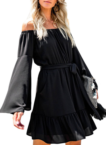 Pocketed Off Shoulder Flare Dress
