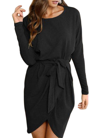 Image of Tie Waist Long Sleeve Mini Dress