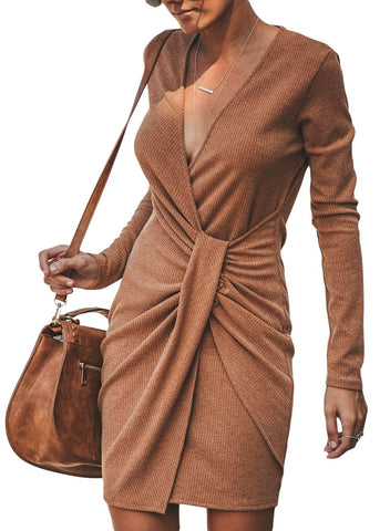 Long Sleeve Ribbed Twist Mini Dress