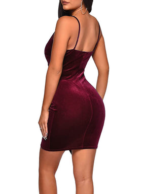 V Neck Velvet Wrap Bodycon Dress