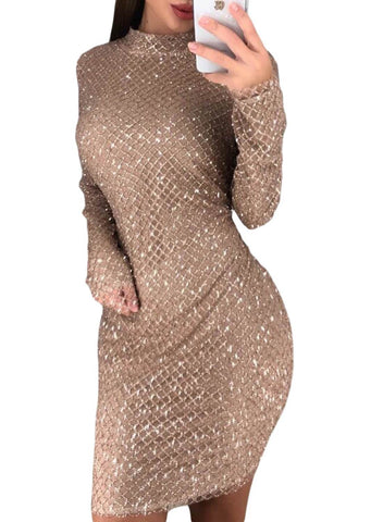 High Neck Long Sleeve Sequin Mini Dress