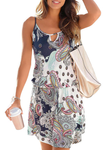 Paisley Print Casual Dress(LC220682-1-1)