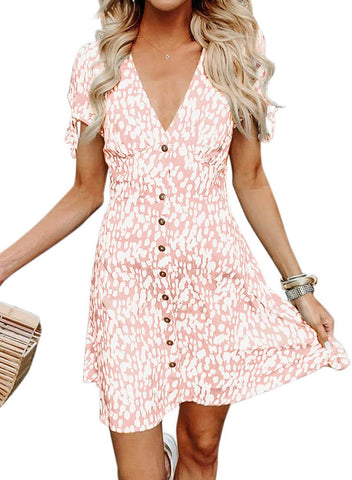 V Neck Polka Dot Aline Sundress (LC220697-10-1)