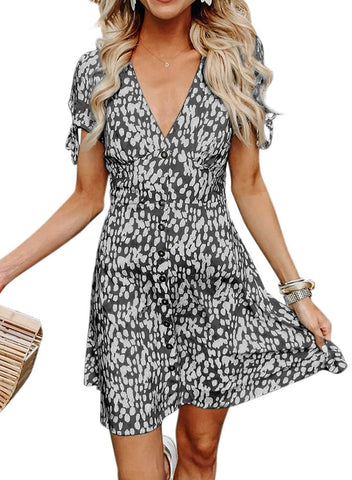 V Neck Polka Dot Aline Sundress (LC220697-2-1)