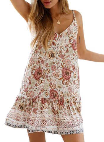 Boho V Neck Spaghetti Strap Backless Mini Dress (LC220708-1-1)