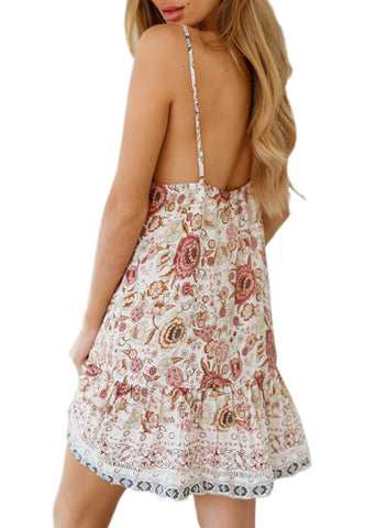 Boho V Neck Spaghetti Strap Backless Mini Dress (LC220708-1-2)