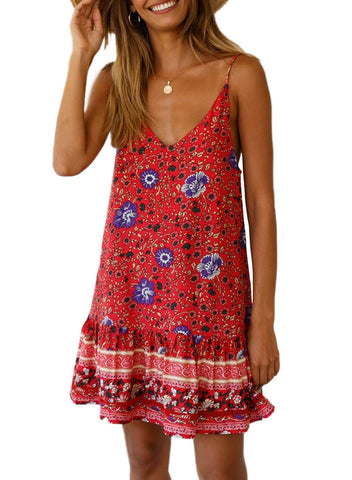 Boho V Neck Spaghetti Strap Backless Mini Dress (LC220708-3-1)