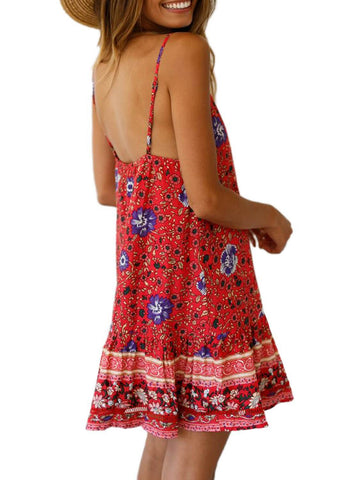 Boho V Neck Spaghetti Strap Backless Mini Dress (LC220708-3-2)