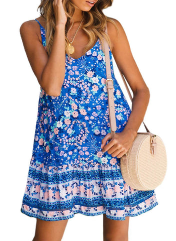 Boho V Neck Spaghetti Strap Backless Mini Dress (LC220708-4-1)