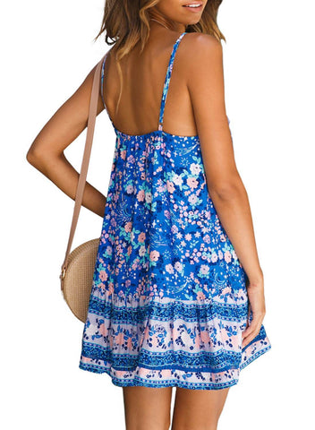 Boho V Neck Spaghetti Strap Backless Mini Dress (LC220708-4-2)