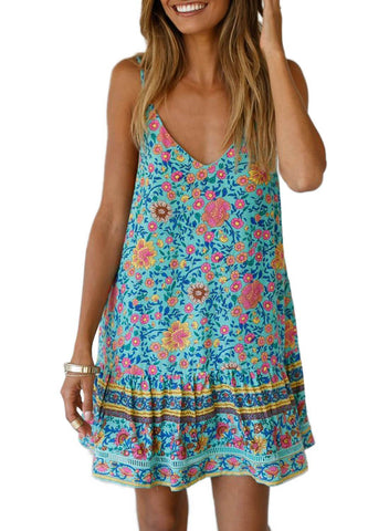 Boho V Neck Spaghetti Strap Backless Mini Dress (LC220708-7-1)