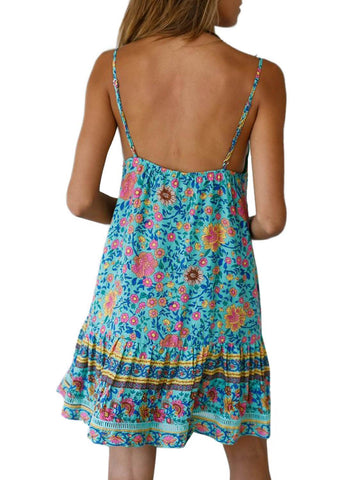 Boho V Neck Spaghetti Strap Backless Mini Dress (LC220708-7-2)