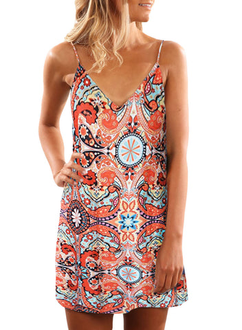 Summer Casual Sleeveless Floral Printed Sundress(LC220713-14-1)