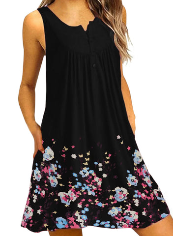 Crew Neck Women Dresses A-Line Daily Beach Floral Dresses(LC220714-2-1)