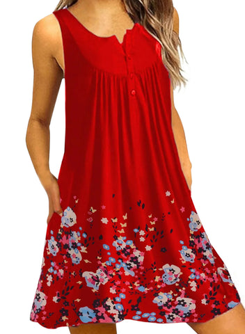 Crew Neck Women Dresses A-Line Daily Beach Floral Dresses(LC220714-3-1)