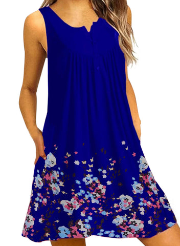 Crew Neck Women Dresses A-Line Daily Beach Floral Dresses(LC220714-5-1)