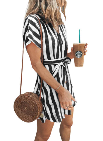 Fashion Stripe Short Sleeve Casual Dress(LC220718-2-2)